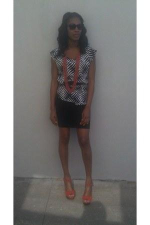 orange Burlington necklace - Bebe dress - black  white Audrey blouse