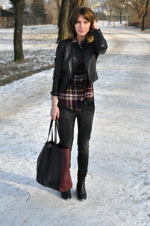 leather Manas Design boots - black Zara jeans - leather H&amp;M jacket