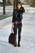 leather Manas Design boots - black Zara jeans - leather H&M jacket