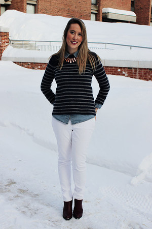 navy madewell sweater - dark brown Urban Outfitters boots