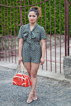 dark brown aztec playsuit asos bodysuit - carrot orange coach bag