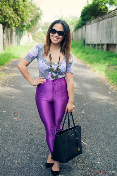 amethyst disco pants American Apparel pants - black tote Michael Kors bag