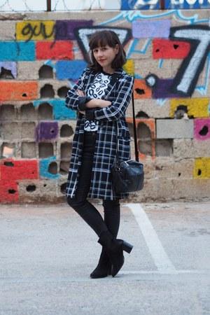 black asos boots - navy asos jacket - white asos shirt - black asos bag