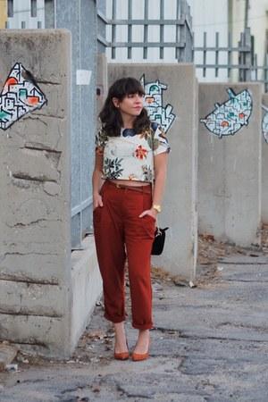 brick red Zara pants - camel Sheinside suit - tawny asos heels