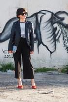 black Zara pants - white asos t-shirt - red asos pumps