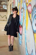 black Zara dress - black Zara jacket