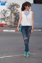 blue Zara jeans - turquoise blue Zara heels