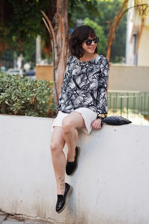 black Mango shirt - white Lefties skirt - black Zara flats