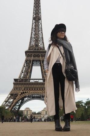 black Zara jeans - navy H&M shirt - black asos bag - off white H&M vest