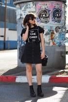 black Aldo boots - black Aliexpress shirt - black asos bag
