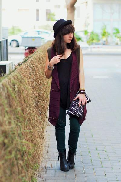 black H&M hat - forest green Zara pants - black Mango top