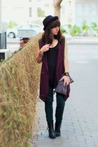 black H&M hat - forest green Zara pants - black Mango top
