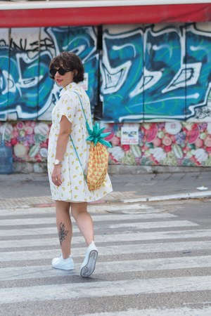 white shein dress - light orange Tiger bag - white Adidas sneakers