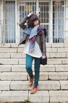 dark green pull&bear scarf - brown asos shoes - dark brown Zara jacket
