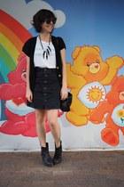 dark gray pull&bear skirt - black CAT boots