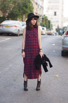 brick red Forever 21 dress - dark gray CAT boots