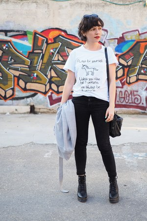 white shein shirt - black Zara jeans
