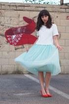 white Forever 21 shirt - red asos heels