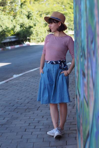 tan Forever 21 hat - red Forever 21 shirt - sky blue castro skirt
