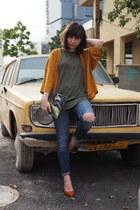 navy Topshop jeans - light orange Forever 21 top