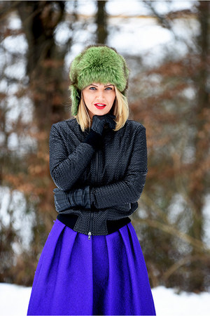blue MARC CAIN skirt - forest green MARC CAIN jacket - ruby red asos sunglasses
