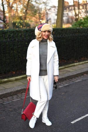 white asos coat - red Chanel bag - dark gray ray-ban sunglasses