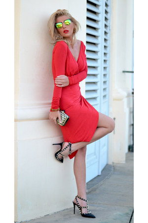 black Valentino shoes - red dana budeanu dress - black Moschino bag