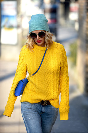 blue H&M bag - light blue Mango jeans - yellow Zara sweater