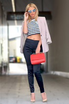 light pink MARC CAIN blazer - nude Jimmy Choo shoes - red Zara bag