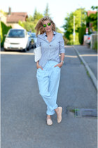 light blue MARC CAIN shirt - nude TODs shoes - white MARC CAIN bag