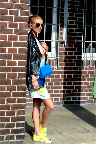 black Zara dress - yellow Prada shoes - black Zara jacket - blue Max Mara bag