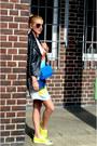 Yellow-prada-shoes-black-zara-dress-black-zara-jacket-blue-max-mara-bag