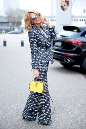 blue Max Mara blazer - yellow Dolce & Gabbana bag - charcoal gray Celine glasses