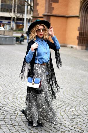 navy Valentino bag - camel christian dior sunglasses - blue Zara skirt