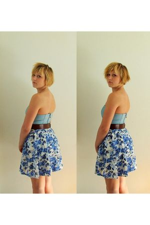 blue H&M dress - blue H&M skirt - brown vintage belt