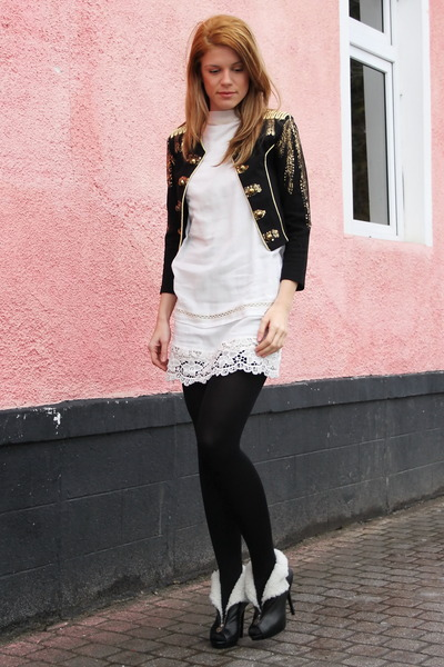 Alexander McQueen boots - white dress alinka dress - H&M jacket