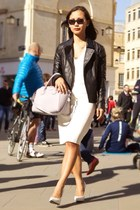 white shift Zara dress - black jacket - silver bag - white heels
