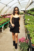 black ruffle Mango dress - black doubleflap Chanel bag - black dior sunglasses