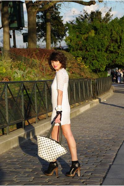 beige Promod accessories - black Zara shoes - beige American Retro dress