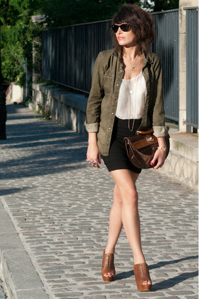 green Zara shoes - brown Zara shoes - black H&M skirt