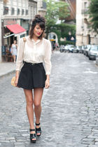 beige vintage shirt - black Zara shoes - black American Apparel skirt