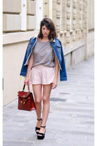 brick red vintage bag - navy jennyfer jacket - light pink Topshop shorts
