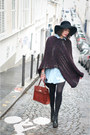 Black-asos-hat-sky-blue-zara-shirt-tawny-vintage-bag-crimson-handmade-cape