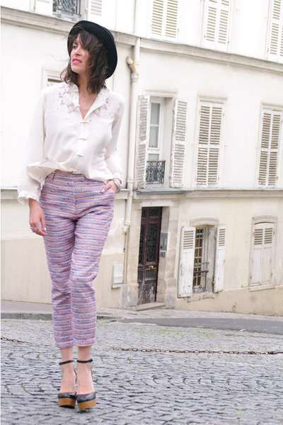 periwinkle sessun pants - dark gray vintage hat - ivory vintage shirt