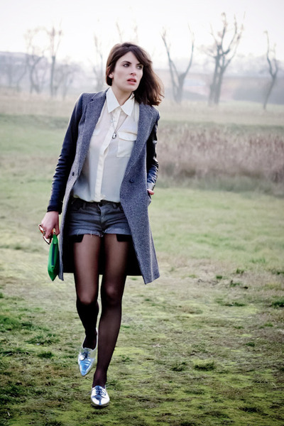 black Zara coat - ivory H&M shirt - teal les composantes bag