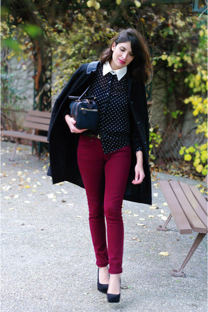 brick red Topshop jeans - black Claudie Pierlot coat - black Topshop shirt