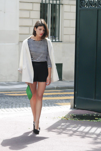 black Queens Wardrobe shorts - ivory Zara jacket - green les composantes bag