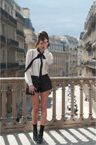 white Zara shirt - black Zara shorts - black asos shoes - black vintage belt - b