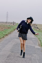 black asos boots - black Zara dress - black vintage hat - black vintage bag