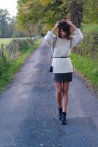 beige Topshop jumper - black camaieu skirt